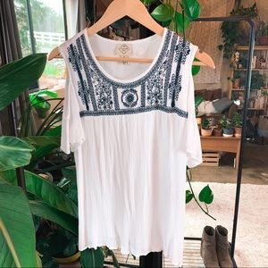 Boho Embroidered White Off-Shoulder Tee